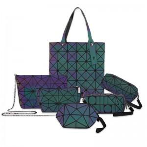 Geometric Luminous Women Handbags Holographic Reflective cosmetic Bags